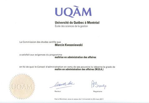 Dyplom MBA UQAM